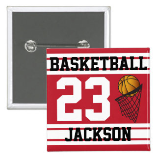 El baloncesto rojo oscuro y el blanco raya el pin cuadrada 5 cm