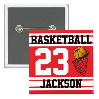 El baloncesto rojo y el blanco raya el texto del   pin cuadrada 5 cm