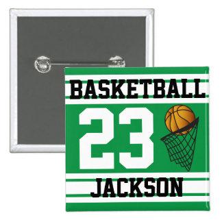 El baloncesto verde y el blanco raya el texto del pin cuadrada 5 cm