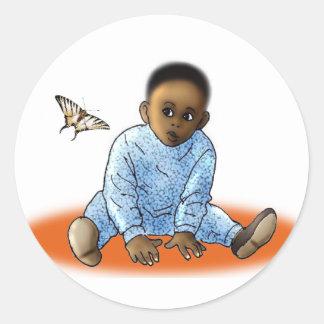 El Bambino y la mariposa Pegatina Redonda