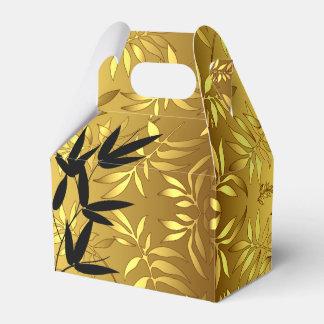 El bambú atractivo sale de negro del oro de la cajas para regalos de fiestas