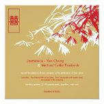 El bambú oriental sale del boda doble de la invitacion personalizada