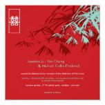 El bambú oriental sale del boda doble de la comunicado personalizado