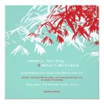 El bambú oriental sale del boda doble de la invitación