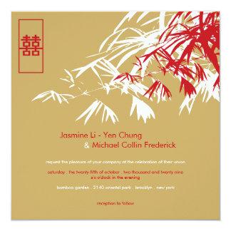"""El bambú oriental sale del boda doble de la invitación 5.25"""" x 5.25"""""""