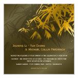 El bambú oriental sale del oro que el boda negro invitacion personalizada
