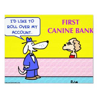 """el banco canino rueda encima el perro de la cuenta invitación 4.25"""" x 5.5"""""""