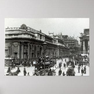 El Banco de Inglaterra adornado para la reina Póster