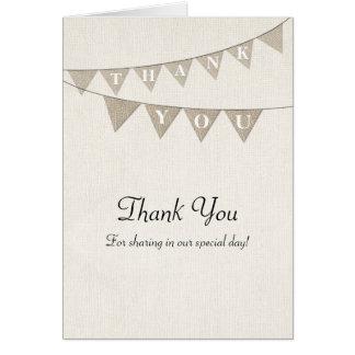 El banderín rústico de la arpillera le agradece ca tarjetas