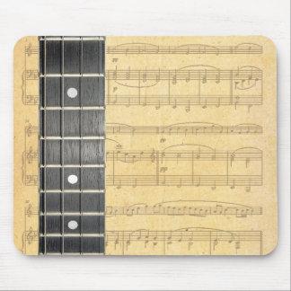 El banjo ata la partitura Mousepad de Fretboard Tapetes De Ratón