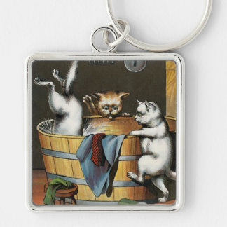 El baño de los gatitos - arte del vintage llavero cuadrado plateado