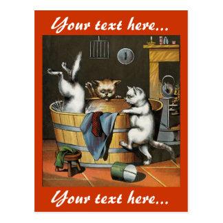 El baño de los gatitos - arte del vintage postal