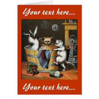 El baño de los gatitos - arte del vintage tarjeta de felicitación