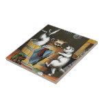 El baño de los gatitos - arte del vintage teja
