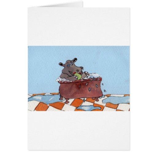 El baño del hipopótamo de Humphrey de Sue Ellis.jp Felicitacion