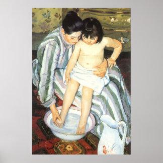 El baño del niño por impresionismo del vintage de póster