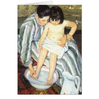 El baño del niño por impresionismo del vintage de tarjeta de felicitación
