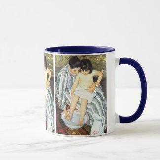 El baño del niño por impresionismo del vintage de taza