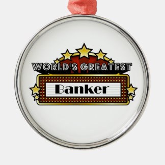 El banquero más grande del mundo adorno navideño redondo de metal