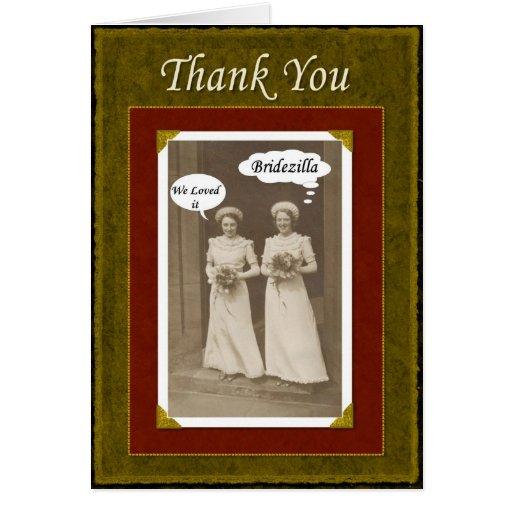 El banquete de boda agradece - Bridezilla - Tarjeta De Felicitación