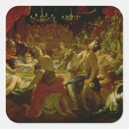 El banquete del Belshazzar Calcomanías Cuadradass