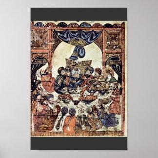 El banquete del boda de Irakischer Maler Um 1230 Poster