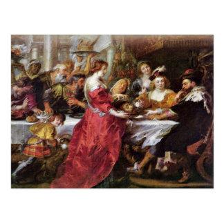 El banquete del Herododes de Rubens Peter Paul Postal
