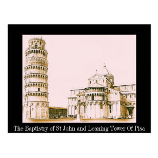 El baptisterio de St John - torre inclinada de Pis Tarjetas Postales