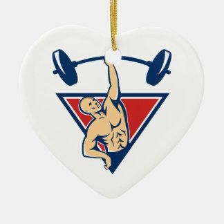 El Barbell de elevación del Weightlifter carga Adorno Navideño De Cerámica En Forma De Corazón