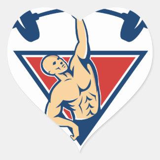 El Barbell de elevación del Weightlifter carga Pegatina En Forma De Corazón
