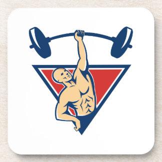 El Barbell de elevación del Weightlifter carga ret Posavaso