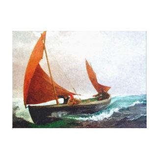 El barco alcanza la playa lienzo envuelto para galerias