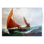 El barco alcanza la playa tarjetas