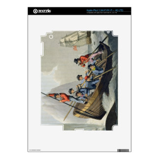 El barco de una nave que ataca una ballena, grabad iPad 3 pegatinas skins