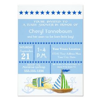 """El barco de vela náutico de la playa juega estilo invitación 5"""" x 7"""""""