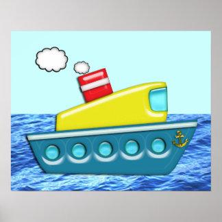 El barco del niño colorido impresiones
