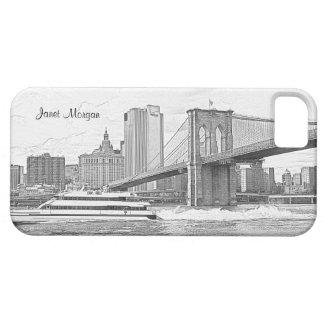 El barco del puente de Brooklyn del horizonte de iPhone 5 Carcasa
