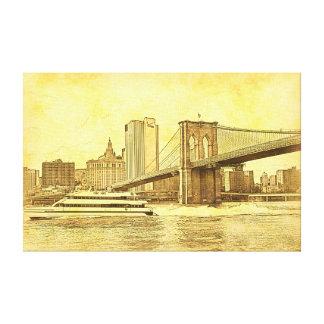 El barco del puente de Brooklyn del horizonte de Impresión En Lienzo Estirada
