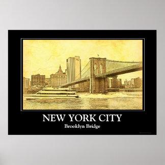 El barco del puente de Brooklyn del horizonte de Posters
