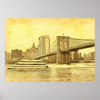 El barco del puente de Brooklyn del horizonte de Poster