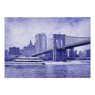 El barco del puente de Brooklyn del horizonte de Impresiones