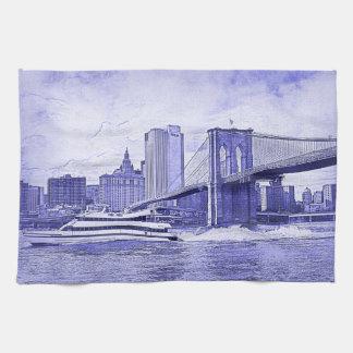 El barco del puente de Brooklyn del horizonte de Toallas De Cocina