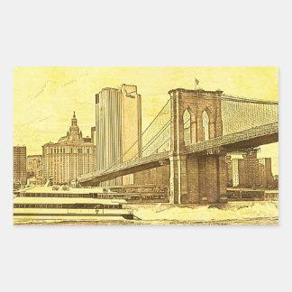El barco del puente de Brooklyn del horizonte de Pegatina Rectangular
