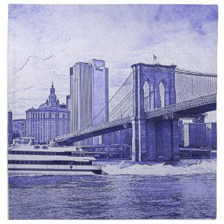 El barco del puente de Brooklyn del horizonte de Servilletas Imprimidas