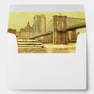 El barco del puente de Brooklyn del horizonte de