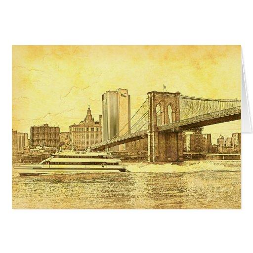 El barco del puente de Brooklyn del horizonte de Tarjeta De Felicitación