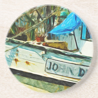 El barco Juan del camarón dibujó impresionismo Posavasos Diseño