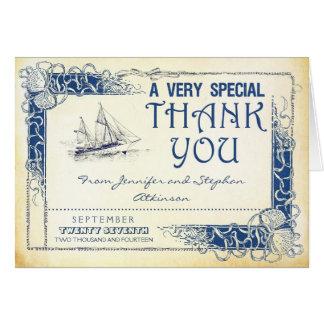 el barco náutico del vintage le agradece las tarjeta pequeña
