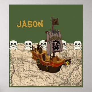 El barco pirata del dibujo animado personaliza póster