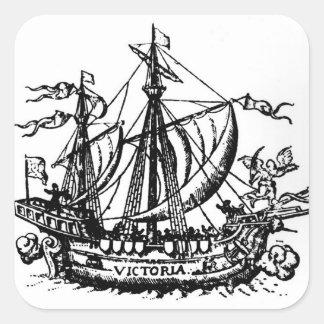 El barco 'Victoria de Fernando de Magallanes Pegatina Cuadradas